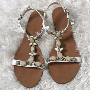 Dune London Leather Jeweled Sandals Sz 39